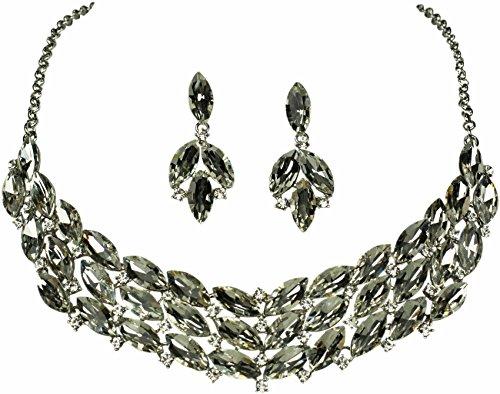 Fashion Schmuckset Scarlett Weiß Silber Collier Ohrringe Schmuck Ohrhänger Halskette