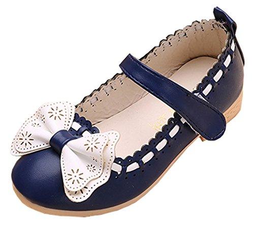 Sweet Kinderschuhe Mädchen Ballerina Prinzessin Festliche Schuhe Lackschuhe mit Süß Schleife (34 fußlänge 20.9cm, Blau)