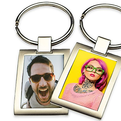 Schlüsselanhänger mit Foto selbst Gestalten und Bedrucken für Schlüsselbund Halskette Armband Armreif (2-setig (2 Fotos))
