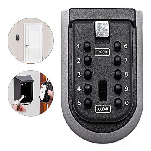 Qweidown Schlüsseltresor,Schlüsselschlosskasten,An Der Wand montierter Schlüsseltresor mit 10 stellige Tastenkombination,wetterfest für Mieter und zur Aufbewahrung von Ersatzschlüsseln