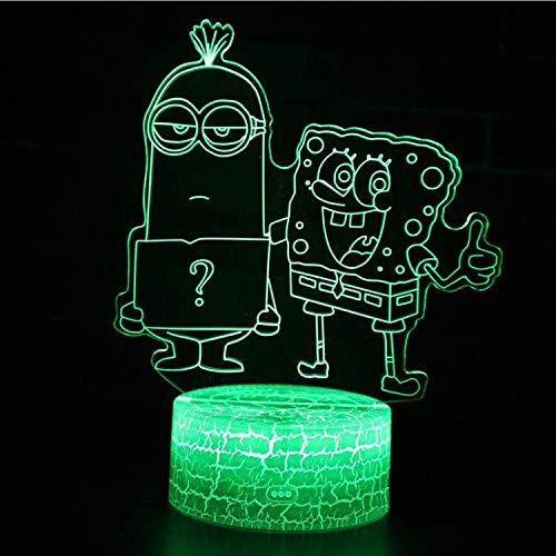 Optische Täuschungslampe SpongeBob und Little Yellow Man 3D-Lampe LED-Nachtlicht 7 Farbwechsel Touch Stimmung Lampe Riss Touch-Schalter