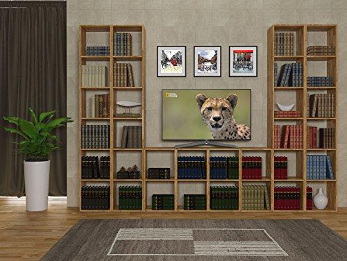 Regal, Bücherregal, Hoch Bücherregale, hohes Bücherregale, Lowboard, Wohnwand, Wandregal-Set, Bibliothek COMFORT mit offenen Fächer, Eiche massiv, geölt (288x209)