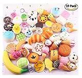 VWH Random 10 Stück Squishy Creme Duftend Langsam Steigende Kawaii Simulation Brot Kinder Spielzeug Jumbo Medium Mini Soft Squishy Kuchen, Panda, Brot, Brötchen Telefon Straps (10P Donuts)