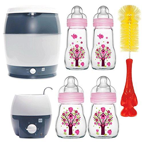MAM Premium Set mit Glasflaschen Pink Starterset für Neugeborene Starter Flaschenset