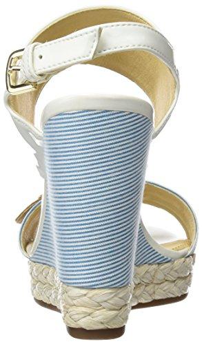Geox Donna Janira E, Sandales Plateforme Femme Blanc (White/caramel)