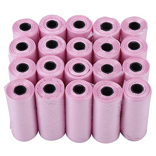 Bolsas Biodegradables Para Desechos de Perros Mascotas Bolsas de Plástico Respetuosas con Medio Ambiente Para Eliminación de Popó(Rosa)