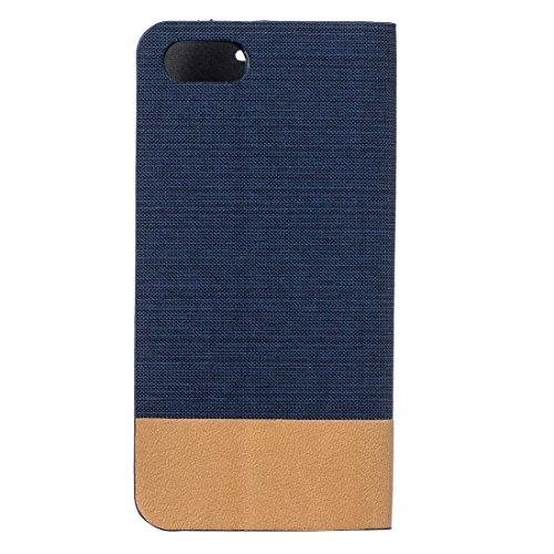 iPhone Case Cover Pour iPhone 7 Motif toile PU + TPU Horizontal Flip cas en cuir avec le support et les fentes de carte ( Color : Grey ) Dark blue