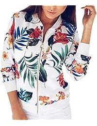 9116e05d28 Bomberjacke Damen Blumen Druck Langarmshirts Jacke Lose Outwear Tunika Tops  Langarm Stehkragen Mit Zipper Vintage Mode