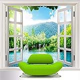 Zxdxd Benutzerdefinierte 3D Wandbild Tapete Fenster 3D Wasserfälle Wald Ansicht Kunstwand Wohnzimmer Schlafzimmer Flur Kinderzimmer Foto Tapete-200X140CM