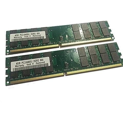 8 GB DDR2 800 mhz - 2 x 4 GB Kit - PC2-6400 RAM memoria PC6400 240 pin - Compatible con 533/667 mhz/Para AMD y VIA * No compatible con