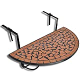 XINGLIEU Mosaik-Balkon-Hängetisch halbrund Terrakotta