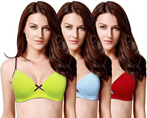 Susie Women's Cotton Padded Full Coverage UnderWired T-Shirt Bra (Pack of 3)