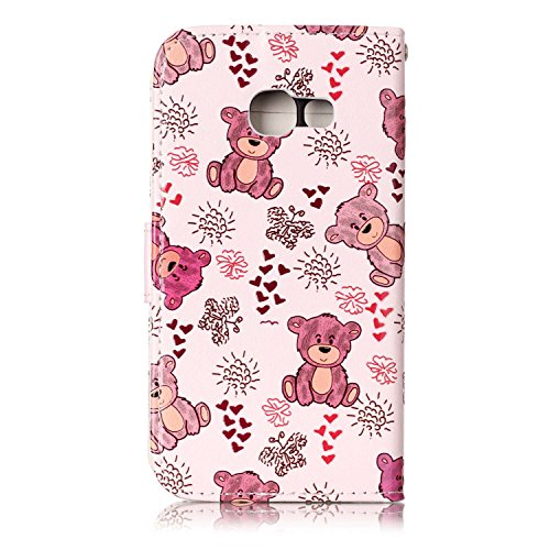 Coque Etui pour Galaxy A3 2017,Galaxy A3 2017 Coque Portefeuille PU Cuir Etui,Galaxy A3 2017 Coque de Protection en Cuir Folio Housse, iPhone 7 Leather Case Wallet Flip Protective Cover Protector, Uka Ours