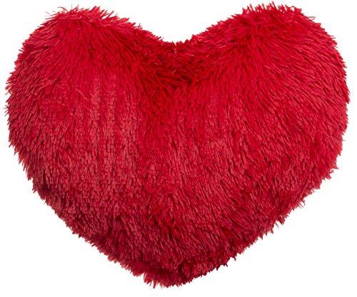 Brandsseller – Zottel Herzkissen kuscheliges plüsch Dekokissen Herzform ca. 45×45 cm