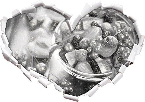 Tropische Beeren (Frischer Obstsalat in der Schüssel Kunst Kohle Effekt Herzform im 3D-Look , Wand- oder Türaufkleber Format: 92x64.5cm, Wandsticker, Wandtattoo, Wanddekoration)