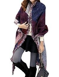 fc8719b1bd33 Echarpe Carreaux Avec Franges Femme Vintage Châle Pashmina Tartan Plaid en  Laine Tissu Glands Manteau Automne Hiver Tricot Chaud Cape…
