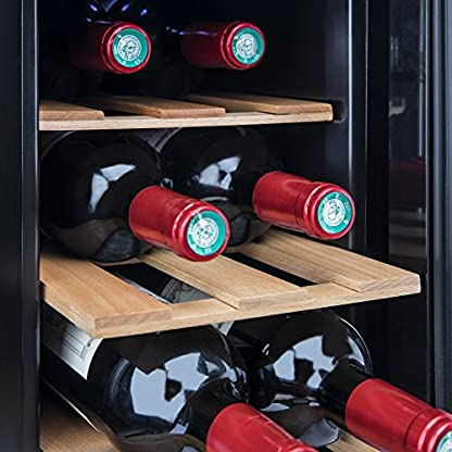 HKoenig-AGE6WV-Weinkhlschrank6-FlaschenTemperatur-von-8C-bis-18CLED-TemperaturanzeigeHolzlagerbden