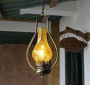 FWEF Spazio Glass pulsante Lampadario Vintage Spreader piccolo paese eoliche industriali tè luci di casa creativo classico Bar Vintage Lampadario in ferro 5-10 mq (20 * 98cm) regolabile