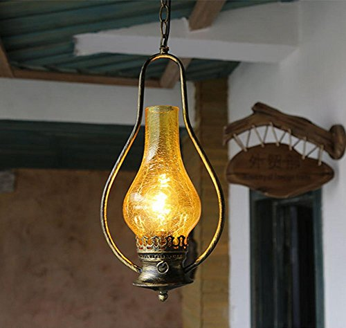 FWEF Spazio Glass pulsante Lampadario Vintage Spreader piccolo paese eoliche industriali tè luci di casa creativo classico Bar Vintage Lampadario in ferro 5-10 mq (20 * 98cm)