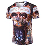 MJ Michael Jackson Dangerous Top Punk Baumwolle 100% Buntes T-Shirt T-Stücke Top Royal Casual T-Shirt (2XL)