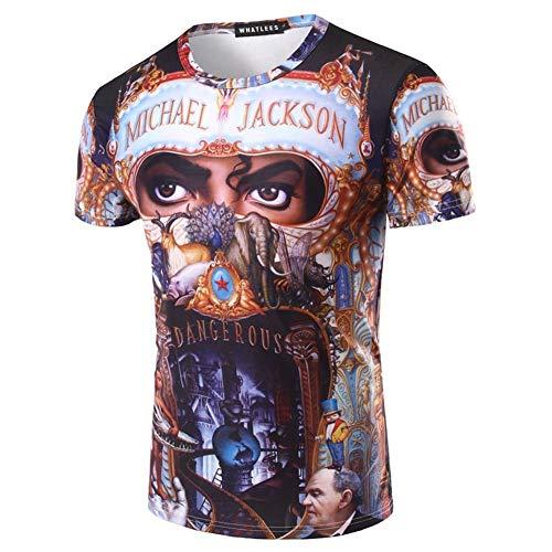 MJ Michael Jackson Dangerous Top Punk Baumwolle 100% Buntes T-Shirt T-Stücke Top Royal Casual T-Shirt, Schwarz, XL