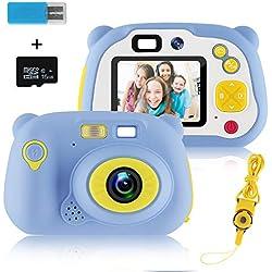MOREASE Appareil Photo Enfant,HD 1500 mégapixels/1080P Caméra Enfant Numérique Selfie Machine Photographique,Ecran LCD de 2 Pouces, avec Carte TF 16 Go et Lanière (Bleu)
