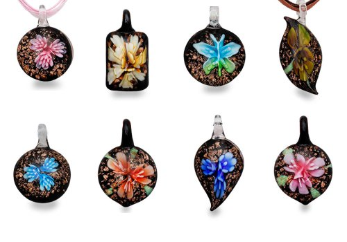 bundle-monster-colorful-assorted-glass-murano-floral-pendant-necklace-8pc-set-18-cord