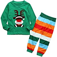 Stripe Pants Outfits Xmas Costume Janly Baby Clothes Set for 0-3 Years Old Infant Baby Sweatshirt Pants Boys Girls Christmas Elk Print Hoodie