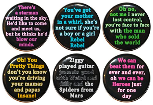 Set of 6 David Bowie Lyric 32mm FRIDGE MAGNETS - MADE IN UK - By BUTTON ZOMBIE