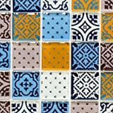 Retro Vintage Mosaik Fliese Transluzent weiß blau orange grau Glasmosaik Crystal Optik für WAND BAD WC DUSCHE KÜCHE FLIESENSPIEGEL THEKENVERKLEIDUNG BADEWANNENVERKLEIDUNG Mosaikmatte Mosaikplatte