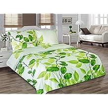 Juego de ropa de cama (Edredón Almohada 100% algodón satén Sofia Autumn, algodón, verde, 135 x 200 cm
