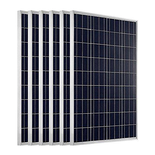 ECO-WORTHY 600W Solarpanel: 6 Stücke 100W Solarmodul Polykristallin Photovoltaik 12 Volt Solarzelle Ideal zum Aufladen von 12V 24V Batterien (600 Watt-solar-generator)