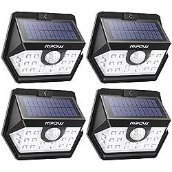 Mpow Luz Solar 500lm, 20 LED Lámpara Solar de Exterior, 270º Gran Angular de Iluminación con 120° Sensor de Movimiento, Foco Solar Impermeable para Jardín, Garaje, Camino, Patio,4 Piezas
