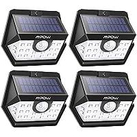 Mpow Luz Solar de Exterior, Lámpara Solar 20 LED, 270º Gran Angular de Iluminación con 120° Sensor de Movimiento Impermeable, Foco Solar de Pared para Jardín, Garaje, Camino, Patio, 4 Piezas