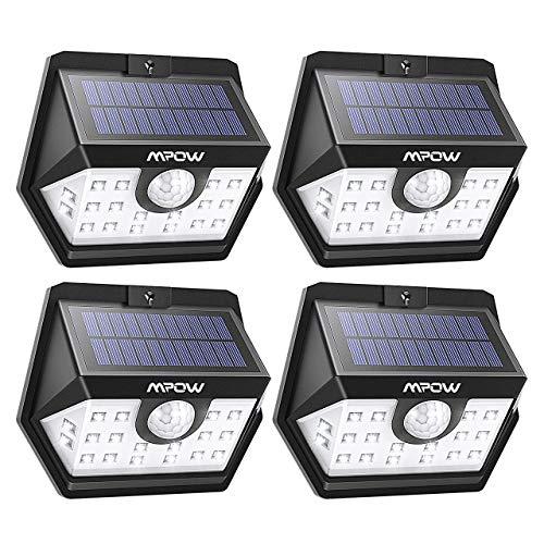 Mpow Luz Solar 500lm, 20LED Lámpara Solar Exterior, 270° Gran Angular de Iluminación, 120° Sensor de Movimiento, Foco Solar Impermeable para Jardín, Garaje, Camino, 4 Piezas