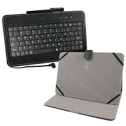 DURAGADGET Tastatur mit Englischer QWERTY-Belegung für ARCHOS 101c Platinum, 101b Neon Tablets und Tasche mit Stand