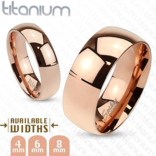 Wide Classic Rose Gold IP Solid Titan Band ring - RINGE