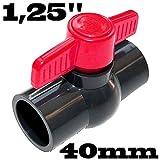 Einklebekugelhahn Kugelhahn Absperrhahn aus PVC-U mit 2 X Klebemuffe für 40mm Rohrleitungen