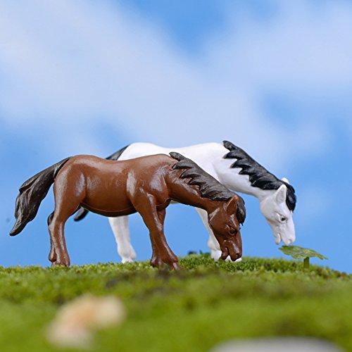 (Sanwood 2 Stück Pferde Tier Garten Haus Ornament Puppenhaus Blumentopf Figur DIY Outdoor Deko Home Halloween Dekoration)