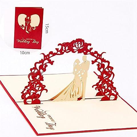 Papier spiritz Carte de mariage Post 3D pop up Cartes Postales assortis Enveloppe découpé au laser fait à la main cartes de v?ux Miss You Think of you I Love You Saint Valentin Cadeau