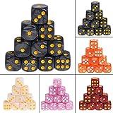 Manyo 10pcs 6 Seitige Würfel, leicht und tragbar, perfekt für Brettspiel, Club und Bar Spiel Tool, Familienspiel, Math Teaching. (Schwarz)