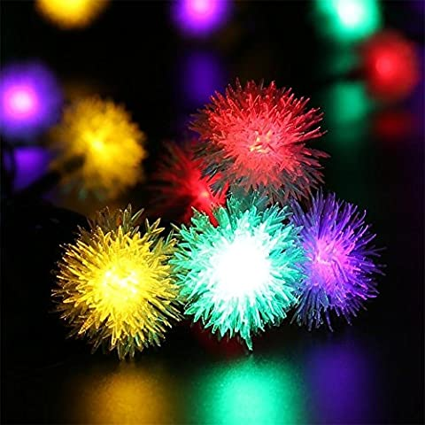 Solar Strip Light,20 Leds 4.8m(15Ft) Dandelion Ball Lights,Waterproof Fairy Lamp,8 Modes(Steady/Flash) Prefect for Outdoor/Indoor Garden,Holiday, Party&Wedding,Christmas