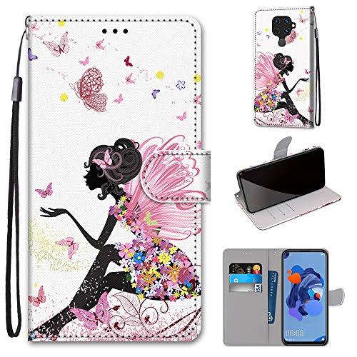 Miagon Flip PU Leder Schutzhülle für Huawei Mate 30 Lite,Bunt Muster Hülle Brieftasche Case Cover Ständer mit Kartenfächer Trageschlaufe,Schmetterling Mädchen
