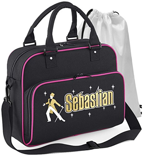 ing - Man Top Hat Tails Cane - SCHWARZ + ROSA Pink - Personalisierte Tanztasche & Schuh Tasche Dance Shoe Bags ()
