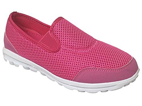 Damen Gehen Schlüpfen Sports Laufen Schuhe Jogging Arbeit Ausbilder Fuchsia