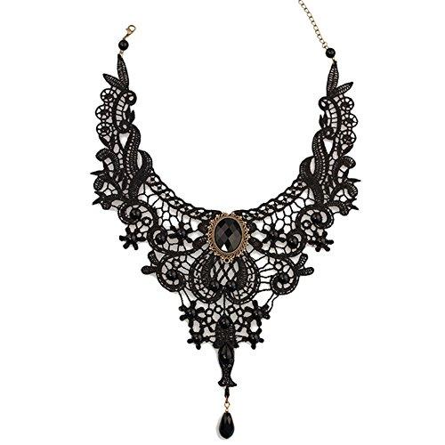 Topdo 1 pcs Gótico Encaje Gargantilla Misterioso Colgante de Cristal Negro Collares para Fiesta y Halloween,Encaje Negro(33cm+7cm)