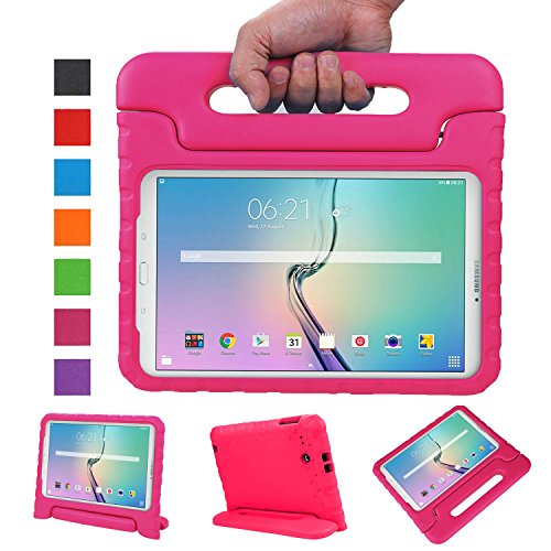 NEWSTYLE Samsung Galaxy Tab E 9.6 Zoll Hülle EVA Stoßfeste Schutzhülle Tragbar für Kinder mit Ständer Schutzhülle Standfunktion für Samsung Tab E SM-T560/SM-T561 9.6 Zoll Tablet,- Rosa