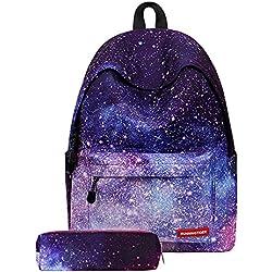 Gdtime Fille Sac à Dos Scolaire avec Trousse Cartable Collège Galaxie idéal pour l'école Voyages Pique-Nique (Violet, V)