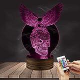 ZCLD Adler Skeleton 3D Vision Design beleuchtete Acryl auf handgefertigten Holz Stimmung Schreibtisch Licht Schädel dekorative Licht
