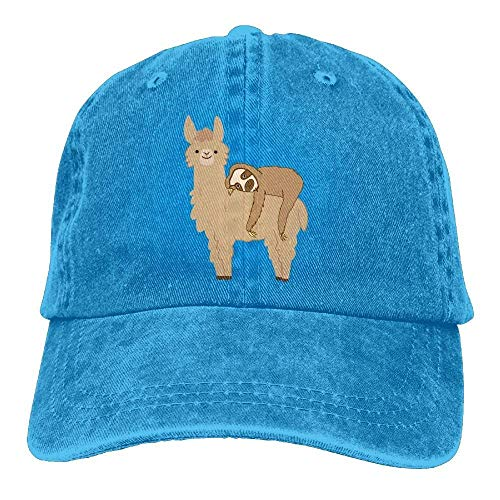 Ingpopol Lazy Sloth Riding Llama Men Plain Dad Hats Cotton Denim Adjustable Baseball Caps Ariat Riding Wear